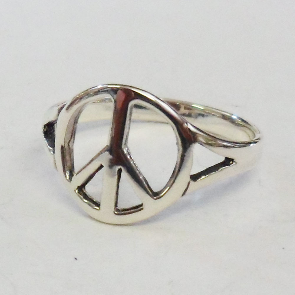 silver thin peace ring