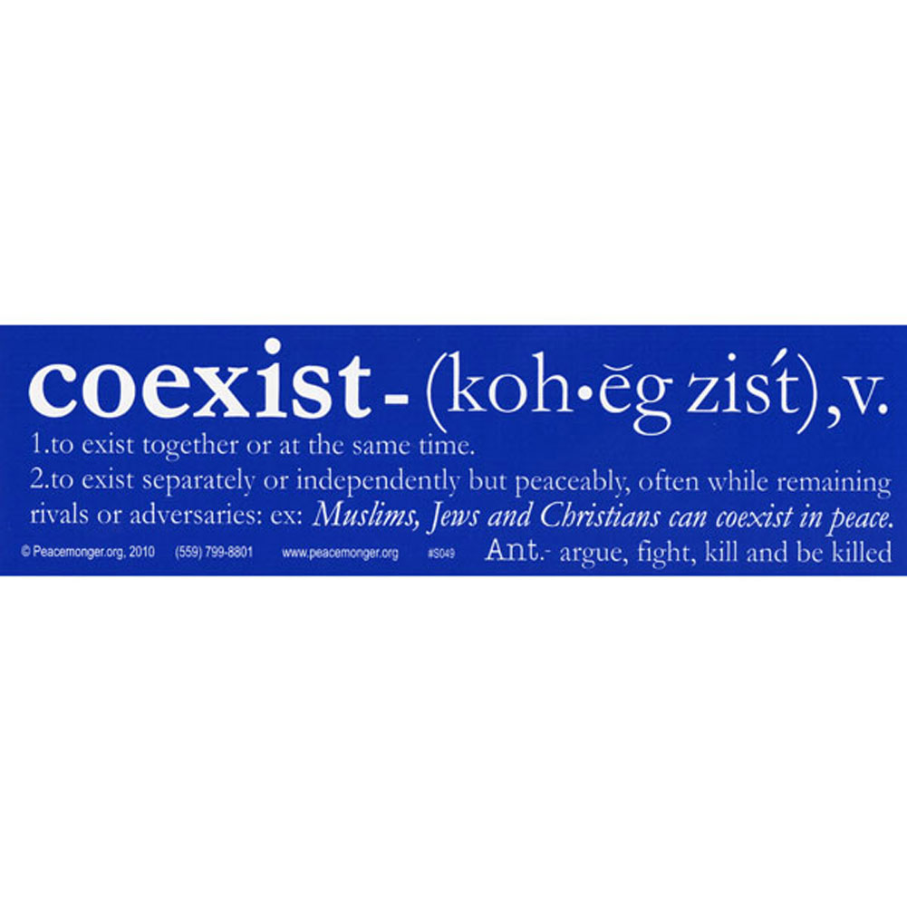 S049 coexist definition large bumper sticker ebay Stickers definition
