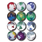 PG004 - Rainbow Earth Marbles, Set Of 12 In A Pouch, Some Recycled Glass, 1 Inch Diameter