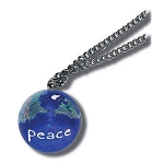 J212 - Pendant, Peace On Earth Marble, with Natural Continents, Endless Stainless Steel Chain, Recycled Glass, 1 Inch Diameter