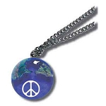 J213 - Pendant, 50th Anniversary Peace Sign On Earth Marble, with Natural Continents, Endless Stainless Steel Chain, Recycled Glass, 1 Inch Diameter