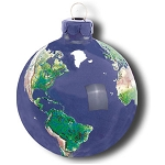 PG010 - Earth Ornament, Glass With Natural Earth Continents, More Than 50 Rivers Visible, 2.5 Inch Diameter