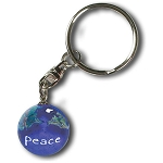 PG002 - Peace On A Blue Earth Marble Keychain, Natural Earth Continents, Silver-Plated Bindings, Recycled Glass, 1 Inch Diameter