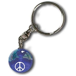 PG003 - Keytag 50th Anniversary Peace Sign On A Blue Earth Marble, Natural Earth Continents, Silver-Plated Findings, Recycled Glass, 1 Inch Diameter