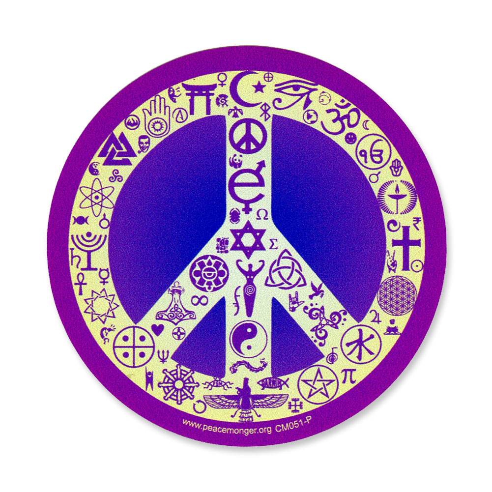 Coexist Peace Symbol Interfaith Color Mini Sticker