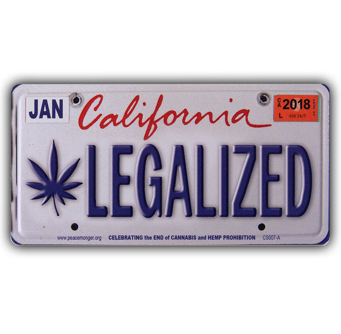 cs007a legalized california cannabis hemp license plate color sticker. Black Bedroom Furniture Sets. Home Design Ideas