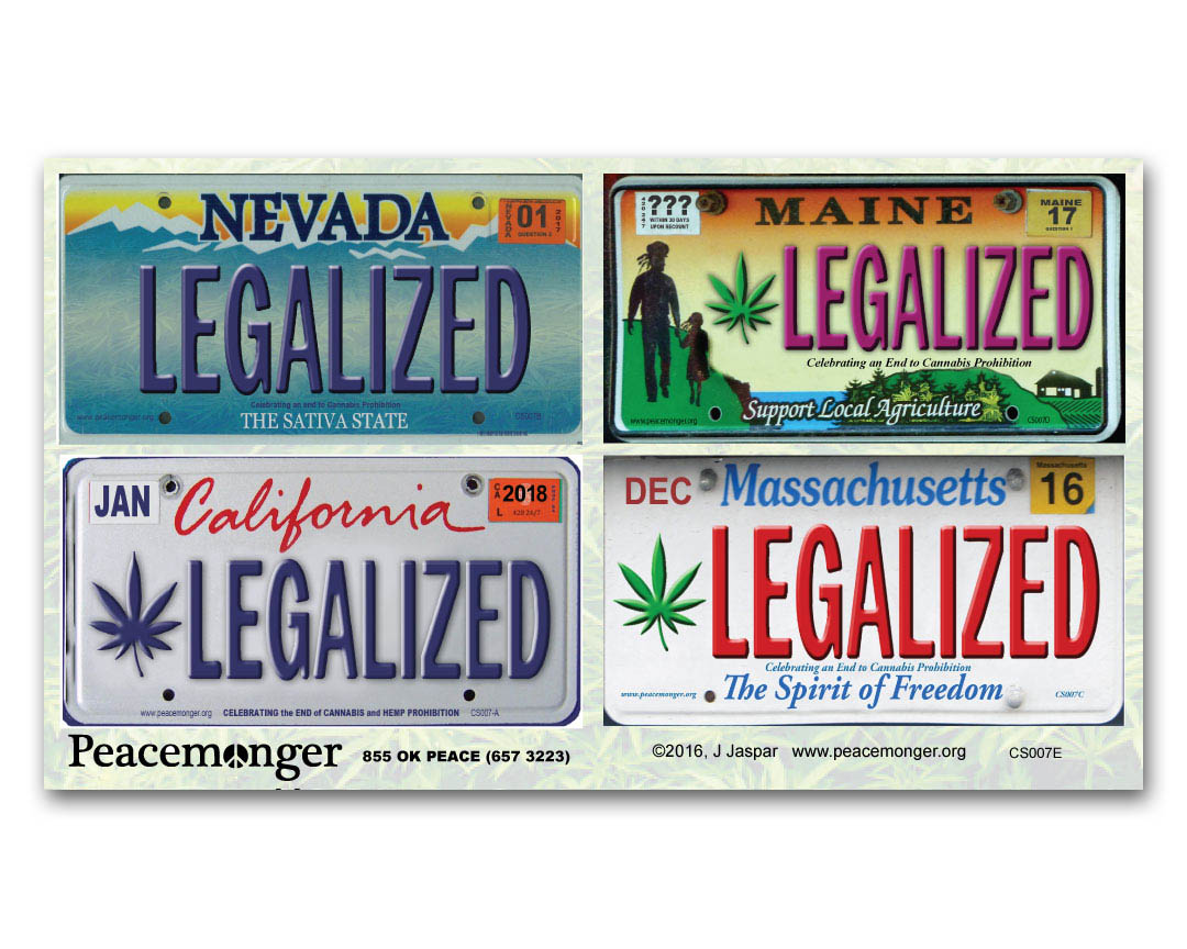 Cs007e Legalized Ca Ma Me Nv License Plates Color Sticker 4 Pack