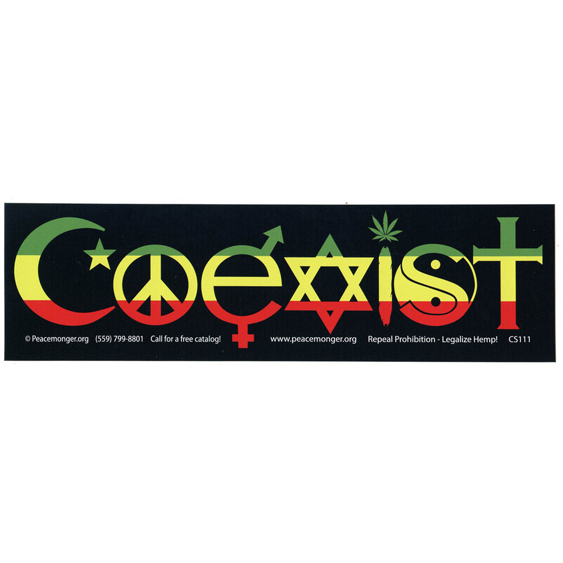 Rasta coexist color bumper sticker