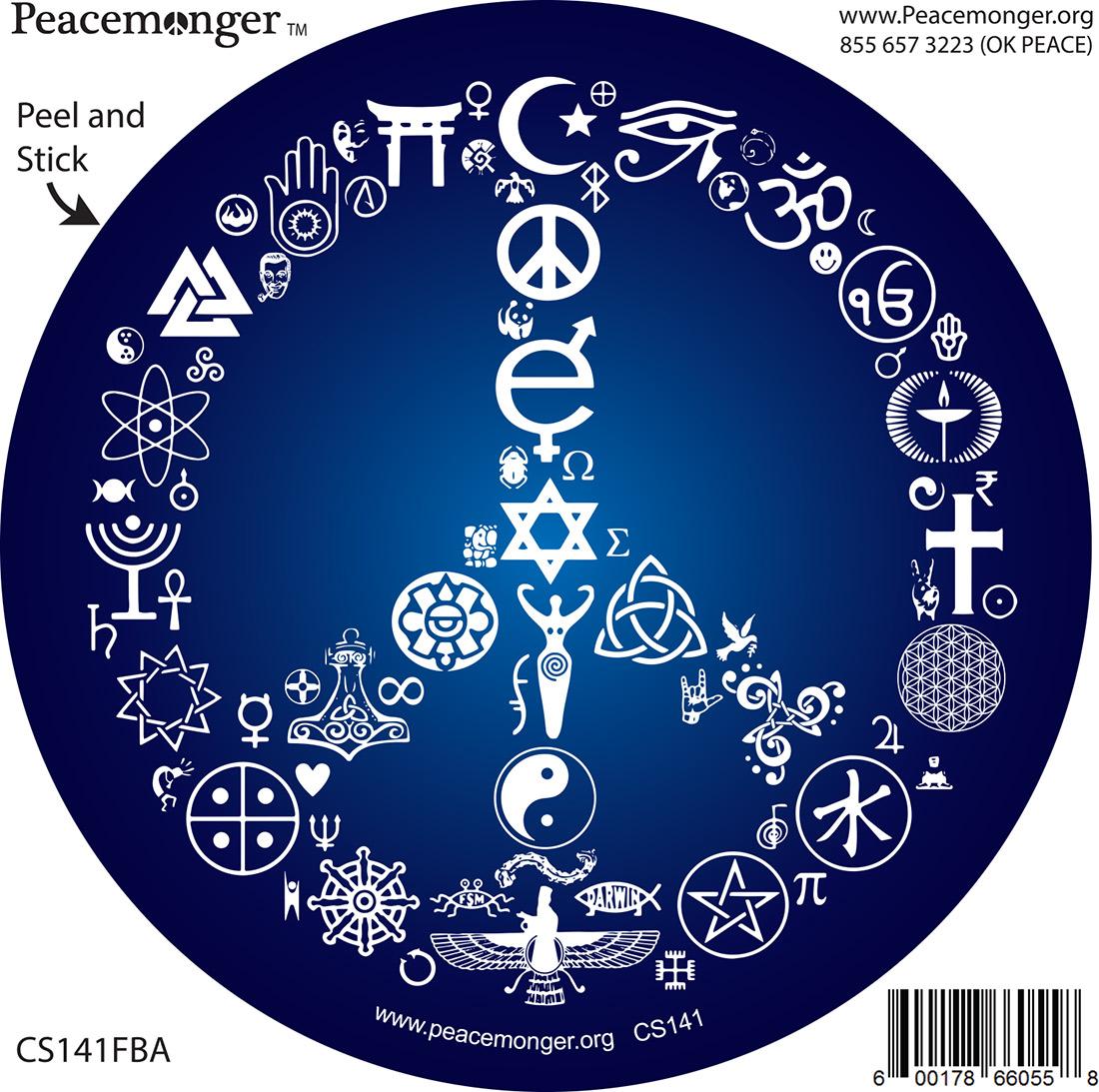 CS141 Coexist Peace Symbol Mosaic Interfaith Mythology