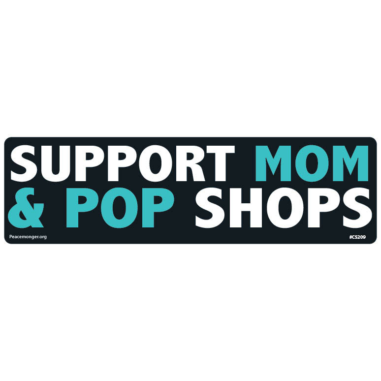 Home shop by item stickers large bumper stickers cs209 stat support mom pop shops static cling sticker made in usa