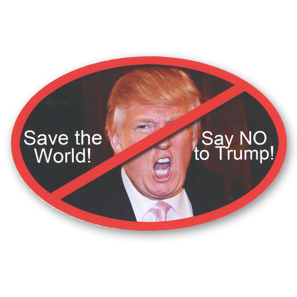 Cs234 Save The World Say No To Trump Oval Color Sticker