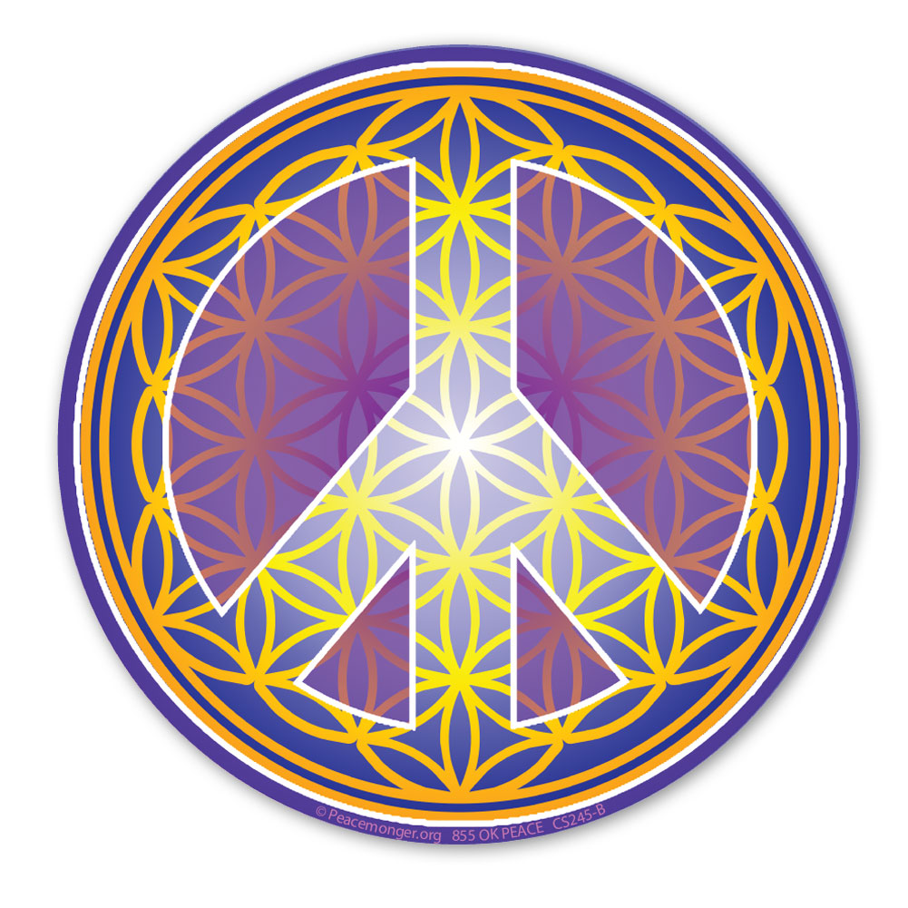 Cs245 B Flower Of Life Peace Symbol Gold Color Sticker