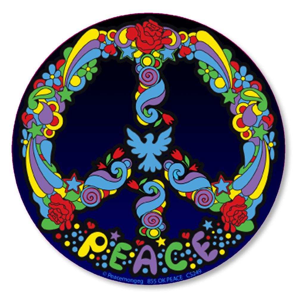 Cs249 Peter Max Style Pop Art Peace Symbol Color Sticker