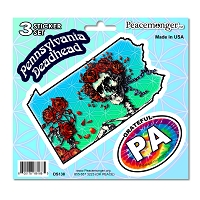 DS138 Pennsylvania Deadhead Bertha Skeleton Roses Grateful Dead 3 Sticker Set