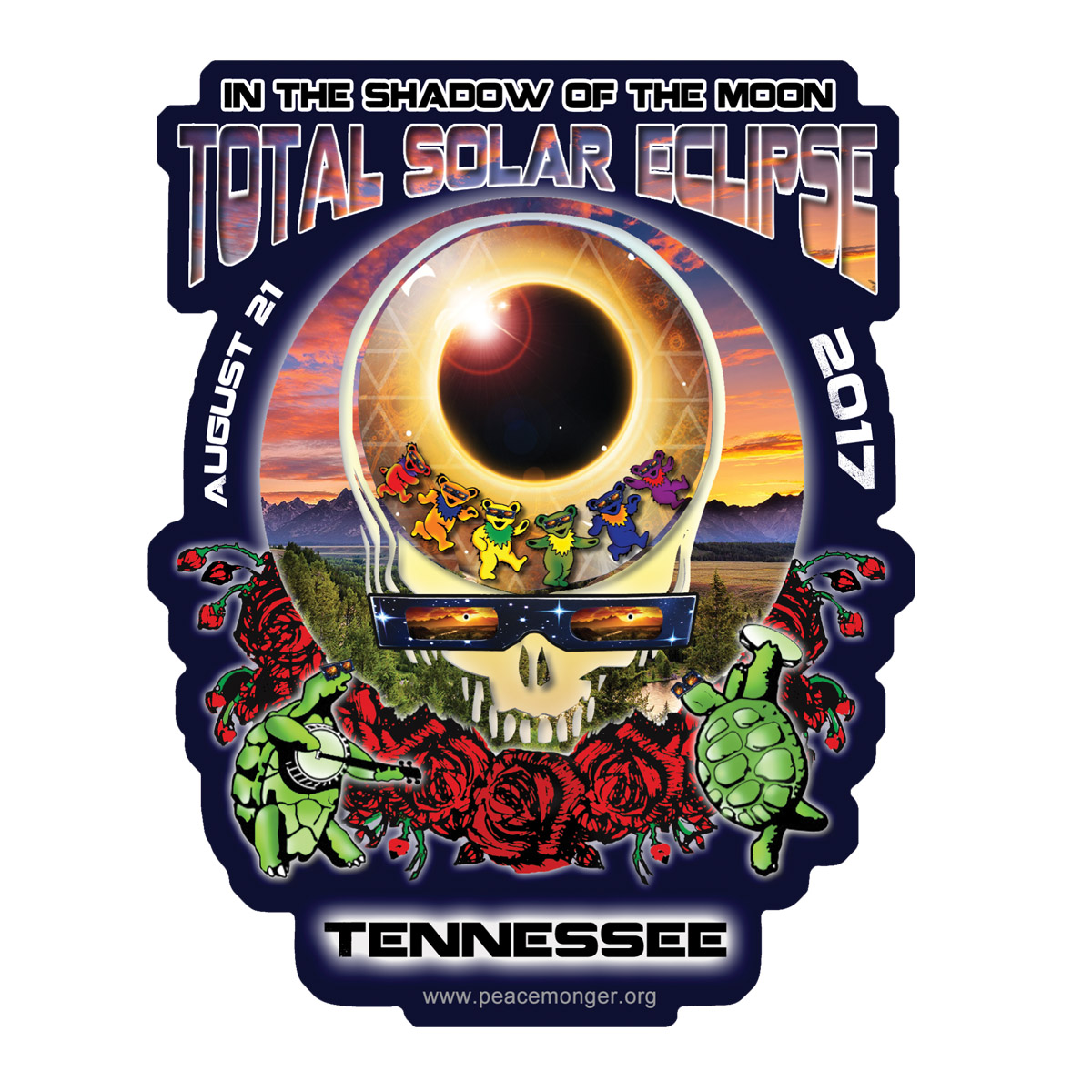 f233a63ea Home > Shop by Item > Stickers > Full Color Bumper Stickers > EC020 -  Tennessee Eclipse Your Face Grateful Dead Total Solar Eclipse 2017 Sticker