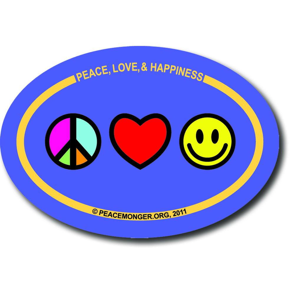 Om019 Peace Love And Happiness Mini Oval Bumper Sticker