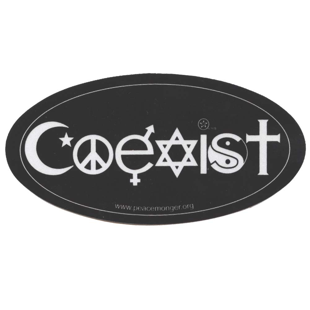 2 Coexist Tolerance Interfaith Symbol Glyph Peace Sign Yin Yang Bumper Stickers