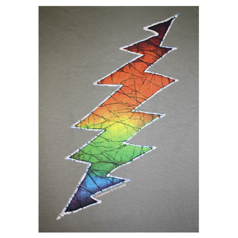 T110 Grateful Dead Rainbow Lightning Bolt Batik Print Unisex T Shirt