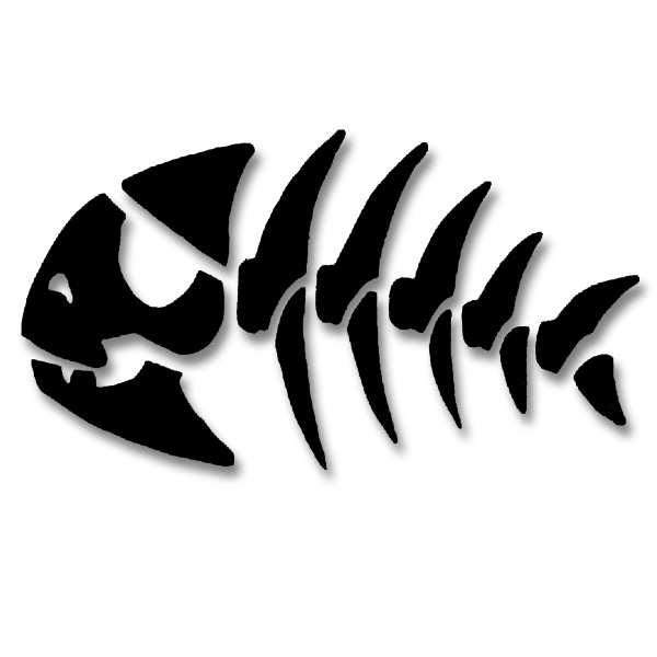 Pirate Fish Skeleton Vinyl Cutout Window Sticker