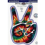 A024 - Tie Dye Peace Hand Art Decal Window Sticker