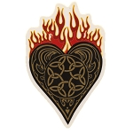 A040 - Flaming Heart Art Decal Window Sticker