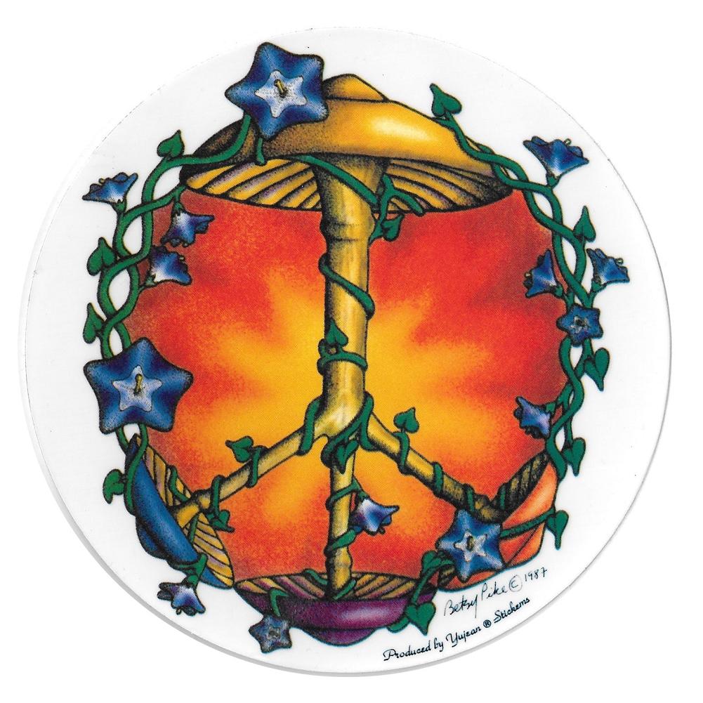 Mushroom Peace Symbol Art Decal Window Sticker