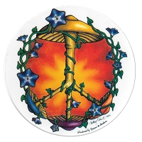 A074 - Mushroom Peace Symbol Art Decal Window Sticker