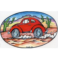 A081 - Red Bug Art Decal Window Sticker