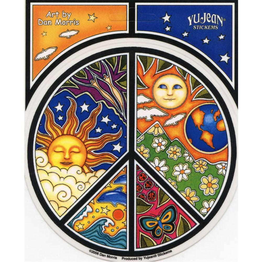 A101 Nature Peace Symbol Dan Morris Sun Moon Earth Art Decal Window