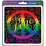 A116 - Peace Languages Word Cloud Rainbow Art Decal Window Sticker