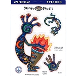 A117 - Kokopelli Fire Drummer Native American Art Decal Window Sticker