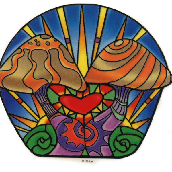 Stained Glass Mushrooms Art Decal Window Sticker