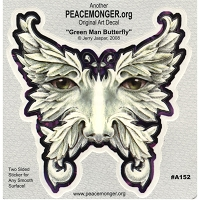 A152 - Green Man/Butterfly Art Decal Window Sticker