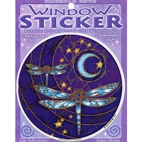 A186 - Dragonfly Moon Art Decal Window Sticker