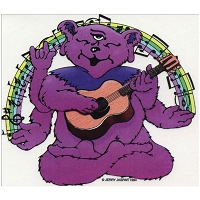 A293 - Vintage Jerry Jaspar Blissful Bear Meditating in a Yoga Pose Playing Guitar Rainbow of Sheet Music Notes Art Decal Sticker