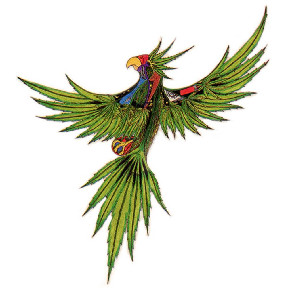 A296 Pot Leaf Parrot Art Decal