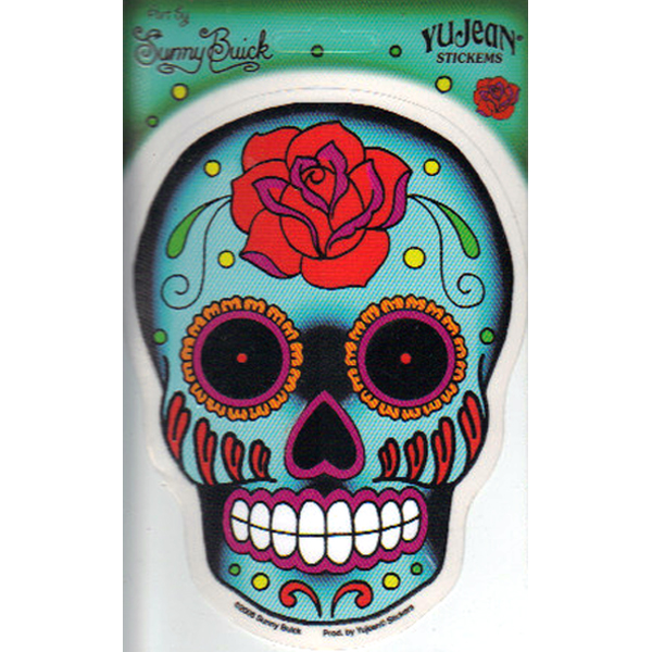 Sugar Skull With Rose Art Decal Window Sticker