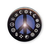 B001 - Peace Light with Interfaith Symbols Button