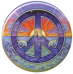 B003 - Day and Night Dolphin Peace Symbol Button