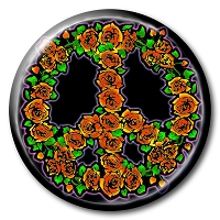 B160 - Rose Peace Symbol Full Color pin back button