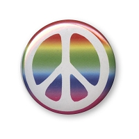 B316 - White on Rainbow Peace Symbol Button
