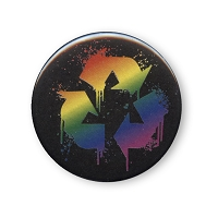 B374 - Rainbow Recycle Splatter Button