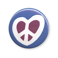 B437-P - Heart Peace Symbol Button
