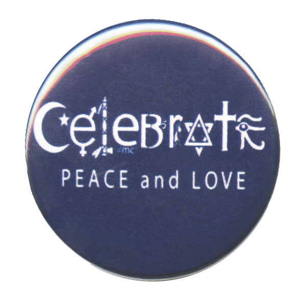 Celebrate Peace And Love Symbols Button