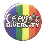 B469 - Celebrate Diversity Symbols Rainbow Button