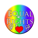 B471 - Equal Rights Rainbow Male Female Symbols Equality Button