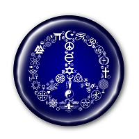 B476 - Coexist Peace Symbol Interfaith Button