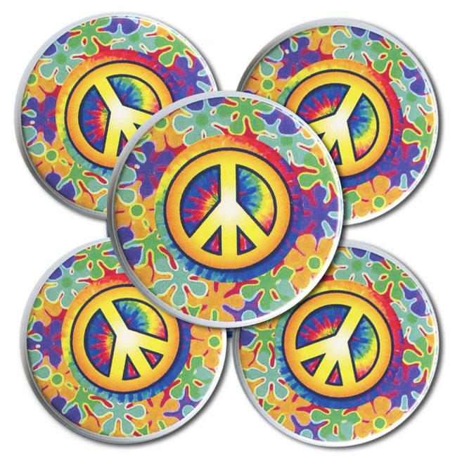 B523 Psychedelic Tie Dye Flower Power Peace Symbol Button