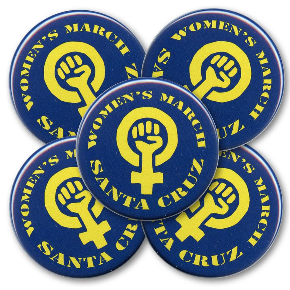 B520 Women S March Santa Cruz Woman Power Symbol Pin Back Button