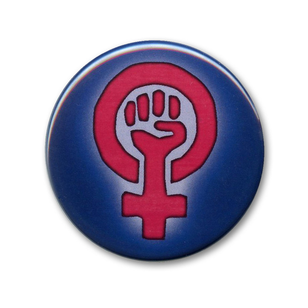 B522 Woman Power Symbol Womens March Protest Rally Pin Back Button